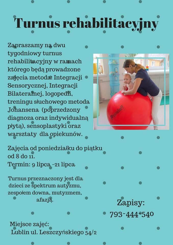 Lubelska Akademia Integracji Sensorycznej plakat turnusu rehabilitacyjnego